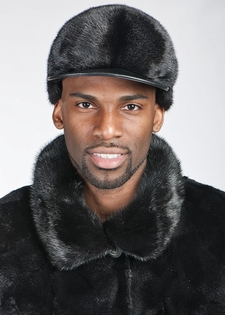 Mens Mink Baseball Cap - Mink with Leather