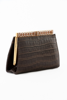 Leather Evening Bag - Brown Leather Crocodile