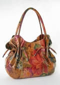 Miraflores Floral Leather Gathered Handbag