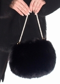 Fur Handbag - Black Fox - Pearl Handle