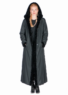 Hooded Mink Coats - Reversible Mink Fur Coats