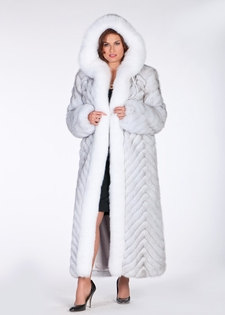 Hooded Fox Coat - White Fox Blue Fox Plus Size