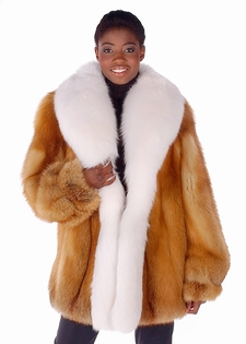 Red Fox Fur Jacket - Full White Fox Trim