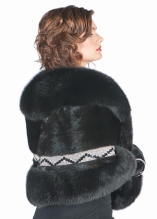 Mink Cape Swarovski Crystal Trim-Black Fox Collar