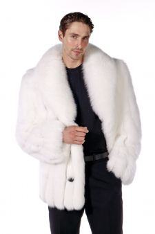 Mens Fox Fur Coat | White Fox Coat | Madison Ave Mall