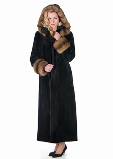 Sheared Mink Fur Coat - Sable Trimmed Hood