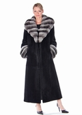 Chinchilla Collar Black Sheared Mink Coat