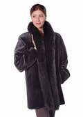 Fox Trimmed Sheared Mink Jacket