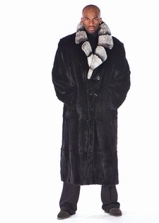 Mens Mink Coat,Mens Fur Coats - Chinchilla Collar