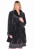 Sheared Black Mink Jacket-Herringbone Design