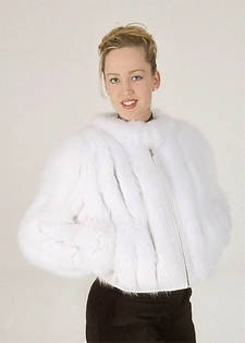 White Fox Fur Zippered Jacket