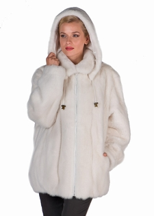 White Mink Jacket - Hooded White Fur Jacket