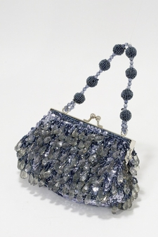 Silver Leaf Grey Beaded Evening Bag- Beads Sequins