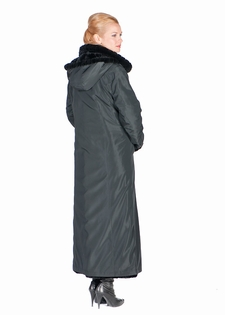 Sheared Mink Hooded Reversible Coat Black Chevron