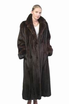 Mink Coat - Classic Notch Collar Mahogany