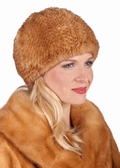 Golden Dyed Mink Knitted Fur Stretch Hat