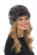 Grey Stretch Knitted Fur Hat - Rose Applique