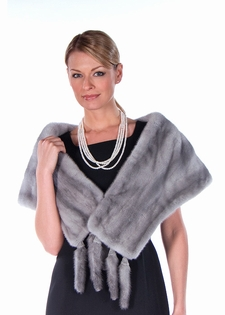 Mink Stole - Natural Pearl Grey Mink Stole 