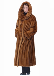 Mink Coat - Golden Mink Hooded Coat