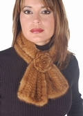 Knitted Mink Scarf - Golden  Mink with Rosettes