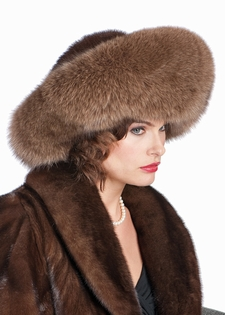 Fox and Mink Fur Hat-Large Brim Fur Hat Soft Brown