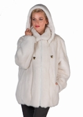 White Mink Fur Hooded Jacket -Detachable Hood