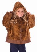 Childrens Mink Jacket - Golden Dyed Hooded Mink