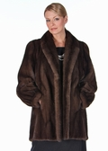 Mink Fur Jacket -Soft Brown Mink Classic Shawl