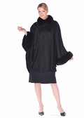 Black Cashmere Cape-Fox Collar and Cuffs Plus Size