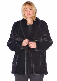 Plus Size Mink Fur Jacket - Ranch Shawl Collar