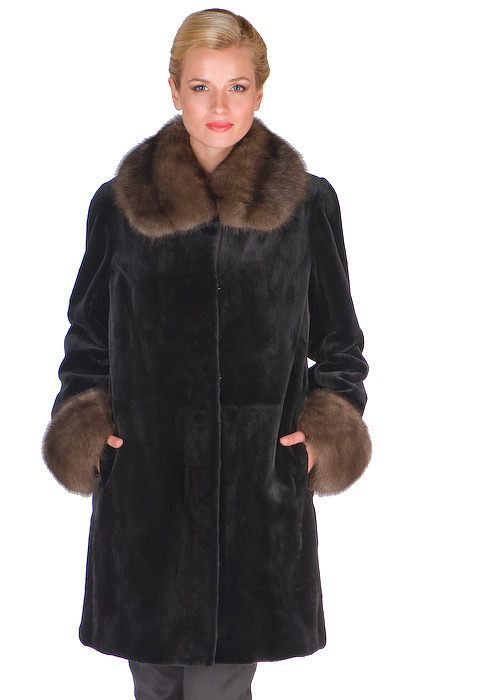 sable collar and cuffs sheared mink jacket