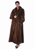 Mink Fur Coat - Mahogany Mink Swirl Panel Design