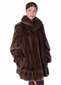Mink Fur Jacket - Mahogany Rosettes and Ruffles