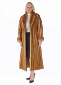 Golden Female Shawl Collar Mink Coat -  Plus Size