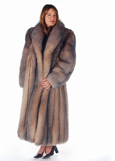 Crystal Fox  Fur Coat-Shawl Collar