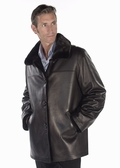 Mens Mink Field Jacket - Leather Reversible 32