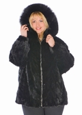 Mink Parka - Zippered Sculptured Mink Plus Size