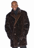 Mens Mahogany Mink Car Coat - Sculptured Mink 37