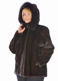 Mink Jacket -Hooded Mahogany Mink Plus Size