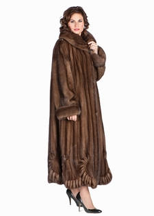Mink Coat - Scalloped Hem Soft Brown Plus Size
