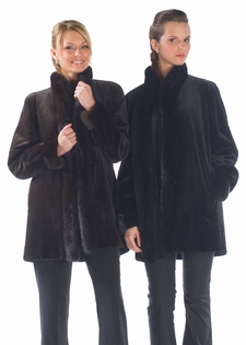 Sheared Mink Fur Jacket - Reversible to Fabric