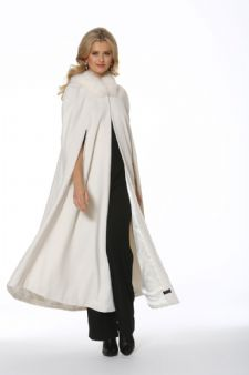 Cashmere Opera Cape Cloak-Winter White Fox Trim 52