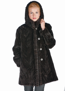 Mahogany Sculptured Mink Jacket - Detachable Hood