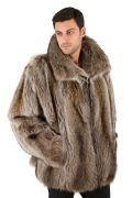 Mens Raccoon Fur Jacket - Natural Raccoon Bomber