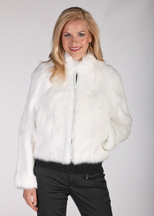 White Fur Zippered Short Jacket - Rabbit Fur