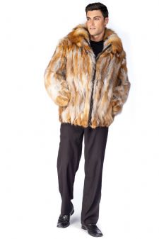 Men's Fur Jacket - Natural Red Fox Detachable Hood