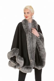 Cashmere Cape - Frost Fox Trimmed - 30