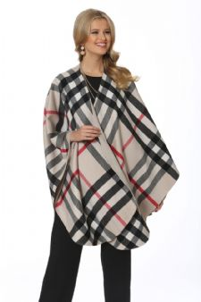 Plaid Cashmere Cape-Winter White Tartan Check
