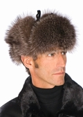 Mens Raccoon Trooper Fur Hat - Leather Crown