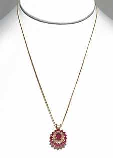"Ruby and Diamond Pendant - 18"" 14K Gold Chain"